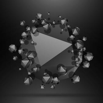 黒の多角形粒子の背景
