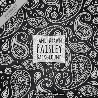 Black background with white sketches floral paisley
