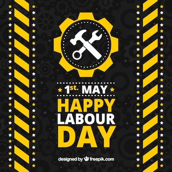 Black background with yellow and white elements for labour day