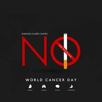 Black background, world cancer day