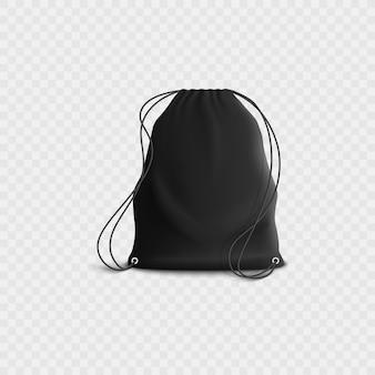Черный рюкзак с шнурком, реалистичная пустая спортивная сумка для спортзала с веревочными ремнями