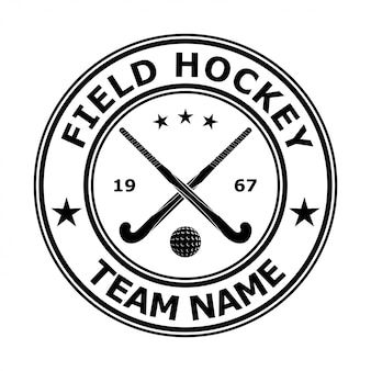 Black badge emblem design field hockey