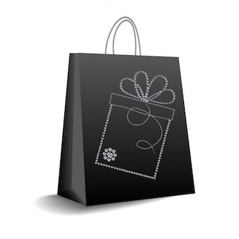 Гламурный черная сумка для покупок
