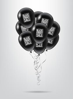 Black balloon bunch with black friday sale text on white background
