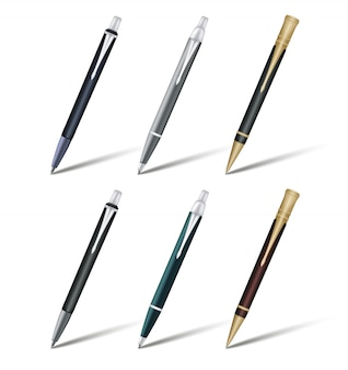 Black ballpoint pen set with a cap. vector illustration isolated