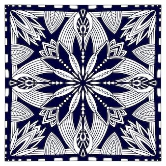 ブラックバンダナプリント。東洋の花ショールパターン。黒と白のベクトルの背景。繊維用のテンプレート。幾何学的な装飾と装飾的な正方形のパターン。