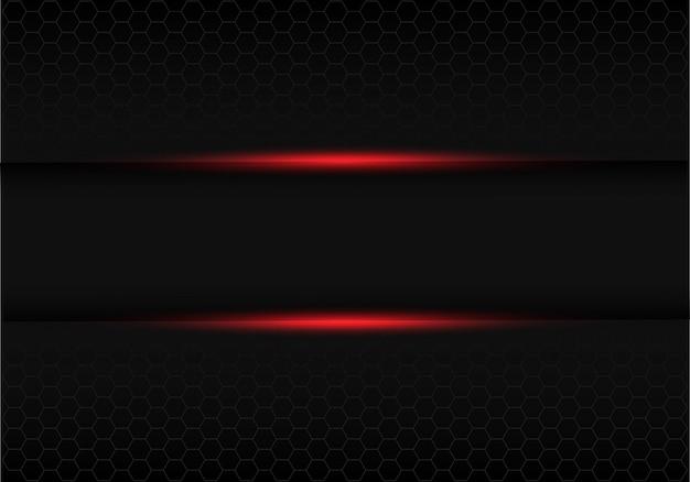 Черный баннер красный свет с серым шестиугольником сетка фон.