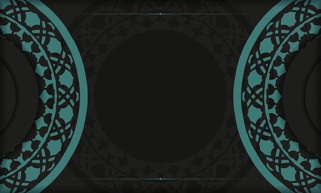 Black banner template with greek blue ornaments and place for your logo and text. template for postcard print design with abstract patterns.