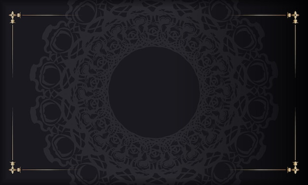 あなたのテキストのための抽象的な装飾と場所と黒いバナー