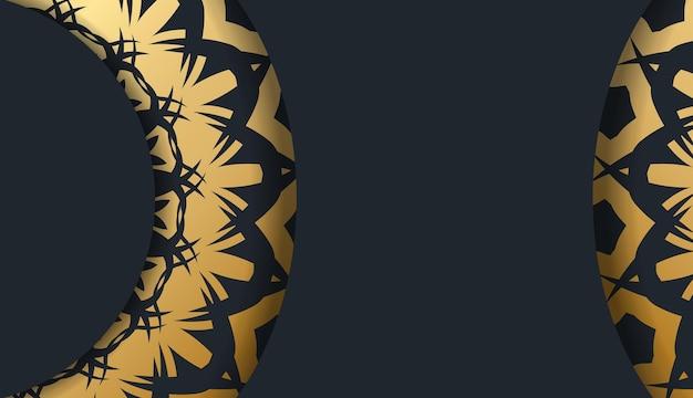 골동품 금 장신구와 텍스트를 위한 장소가 있는 검은색 배너