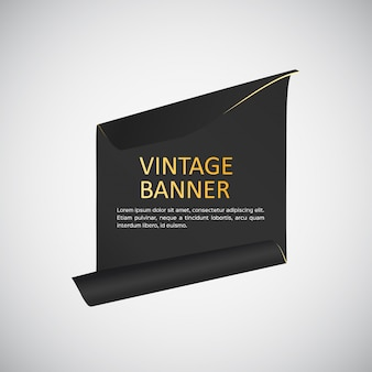 Black banner with golden letters