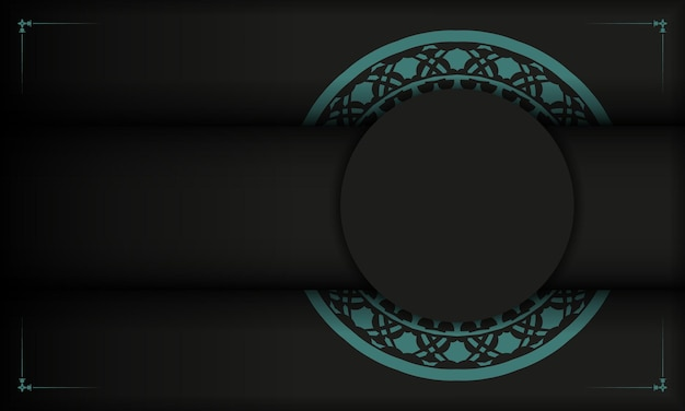 Black banner with greek blue ornaments and place for your logo. template for postcard print design with abstract patterns.