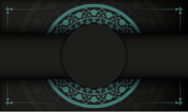 Black banner with greek blue ornaments and place for your text and logo. postcard design with abstract patterns.