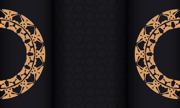 Black banner with luxurious brown ornament and a place for the logo
