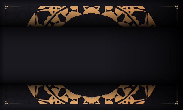 Black banner with luxurious brown ornament and place for your text