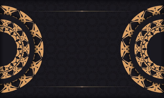Black banner with luxurious brown ornament and space for logo or text