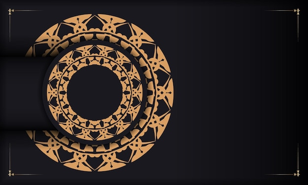 Black banner with luxurious brown ornamentation and space for your logo or text