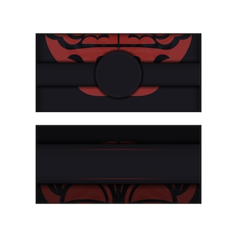 Black banner with maori ornaments and place for your text and logo. design background with luxurious patterns.