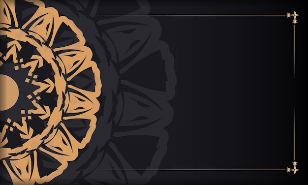 Black banner with ornaments and place for your logo. template for print design background with luxurious patterns.