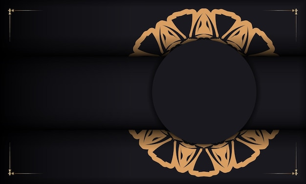 Black banner with ornaments and place for your text and logo. design background with luxurious patterns.