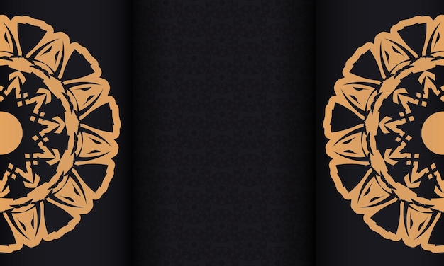 Black banner with ornaments and place for your text. print-ready design background with luxurious patterns.