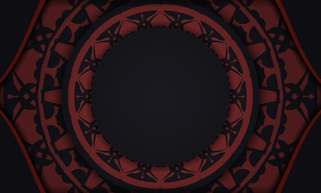 Black banner with ornaments and place for your text. print-ready design background with vintage patterns.