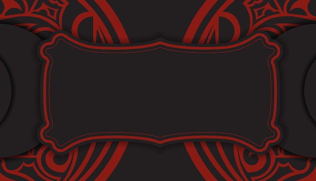 Black banner with polynesia ornaments and place for your logo. template for print design background with luxurious patterns.
