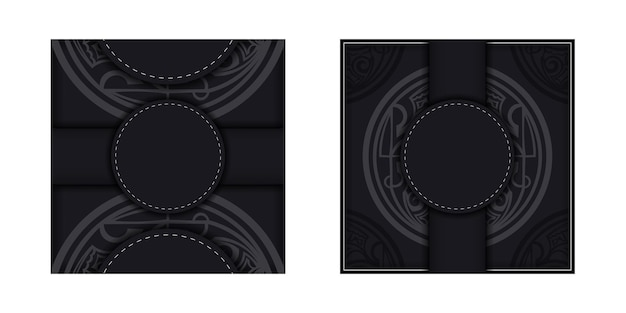 Black banner with polynesia ornaments and place for your logo. template for print design background with patterns. vector illustration