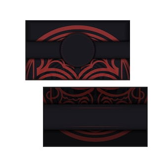 Black banner with polynesia ornaments and place for your logo. template for print design background with patterns. vector