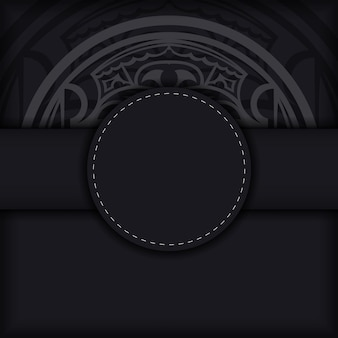 Black banner with polynesia ornaments and place for your logo. template for print design background with patterns.