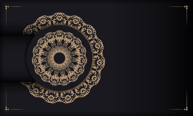 ヴィンテージの茶色の飾りとあなたのテキストのための場所と黒のバナー