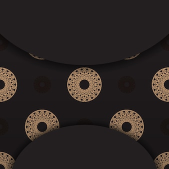 Black banner with vintage brown pattern and place for text