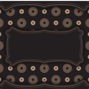 Black banner with vintage brown pattern and place under your text