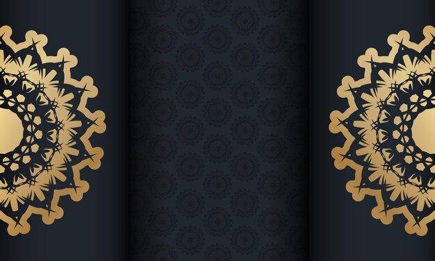빈티지 골드 장식품과 로고 공간이 있는 블랙 배너