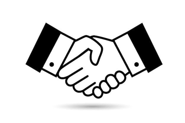 Изолированный черный значок рукопожатия сделки. деловая сделка, партнерство или символ рукопожатия уважения