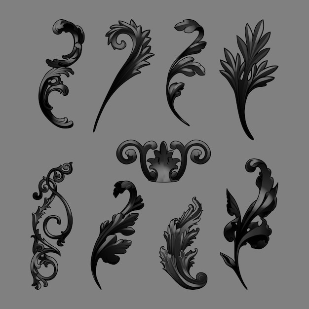 Black baroque elements vector set