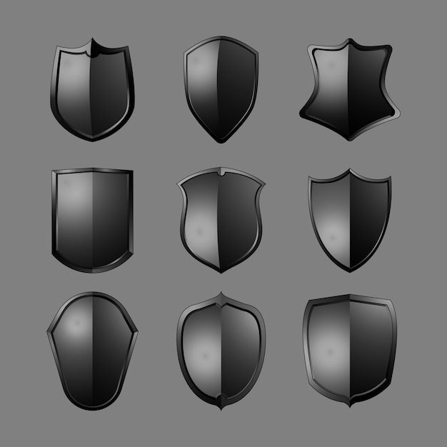 Black baroque shield elements vector set