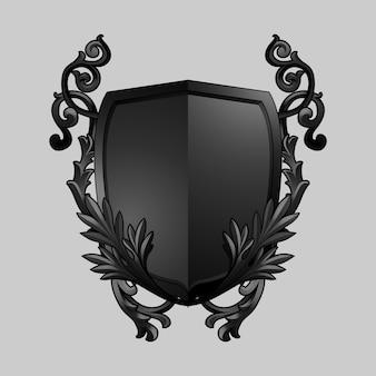 Black Baroque shield elements vector