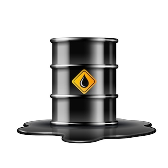 Black barrel with oil drop label on spilled puddle of crude oil.  illustration  on white background