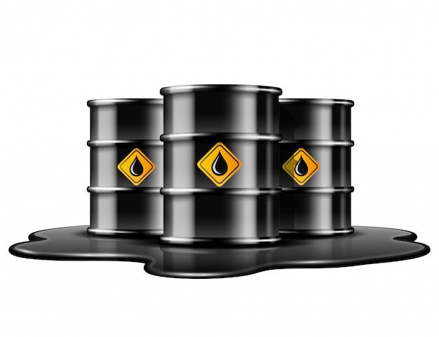 Black barrels with oil drop label on spilled puddle of crude oil.  illustration  on white background