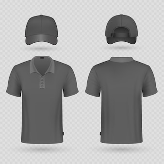 Black baseball cap and male polo t-shirt realistic vector