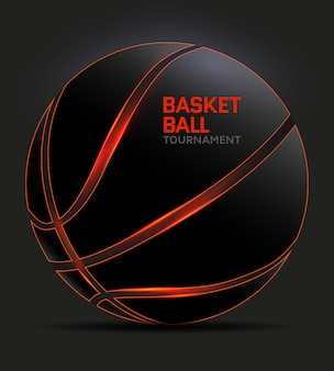 Black basketball with orange glowing lines. vector illustration