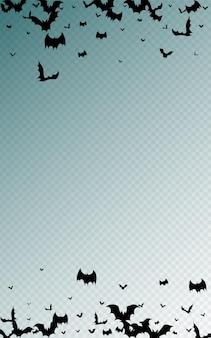 Black bat flying vector transparent background. flock scary banner. creepy bats frame. cartoon design.