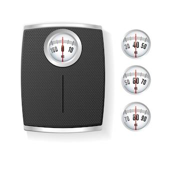 Черные весы для ванной, изолированные на белом фоне. концепция управления телом