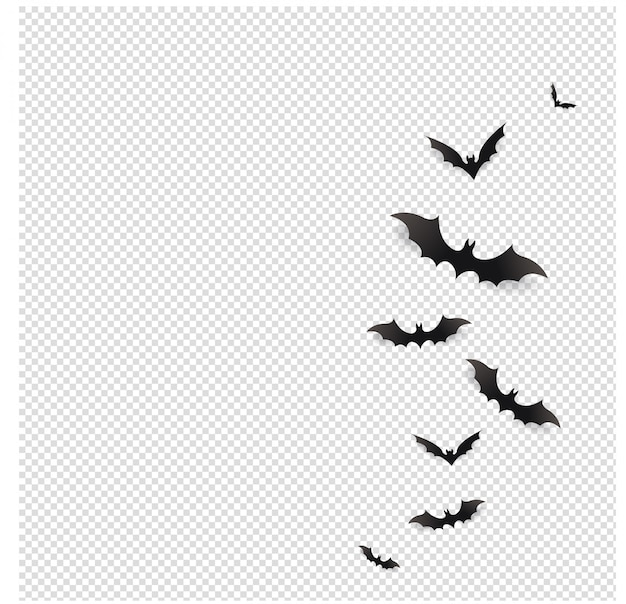 Black bats flying in