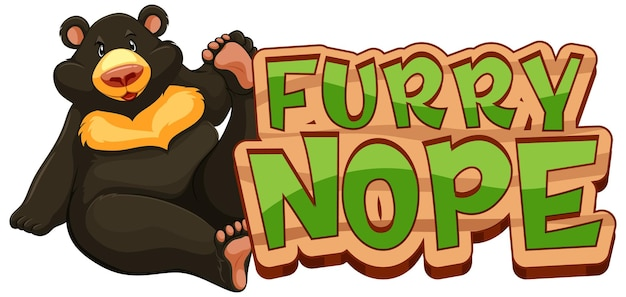 Furry nope 글꼴 배너가 격리된 검은 곰 만화 캐릭터