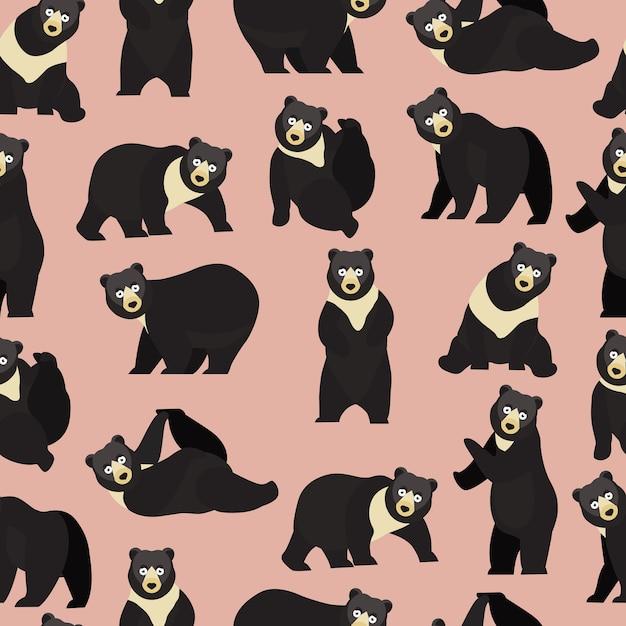 Black bear seamless pattern