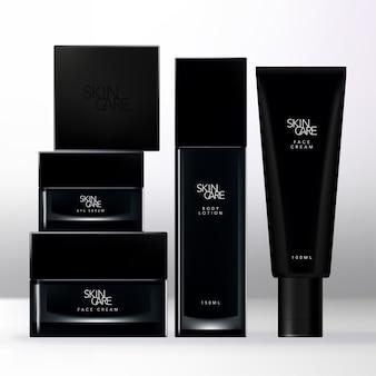 Черный упаковочный комплект красоты с черной квадратной крышкой, прозрачной банкой, бутылкой и тюбиком.