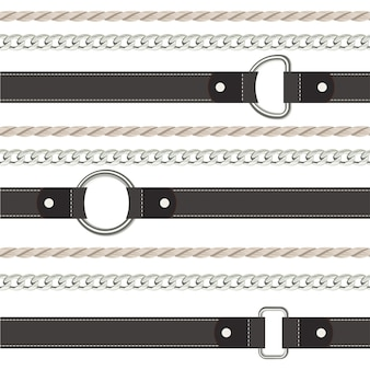 Черный пояс, веревка и цепь бесшовные модели.
