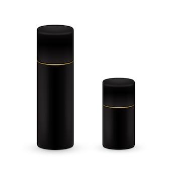 Black big and small bottles of aerosol spray, metal bottle for cosmetic, perfume or hairspray. deodorant packing.